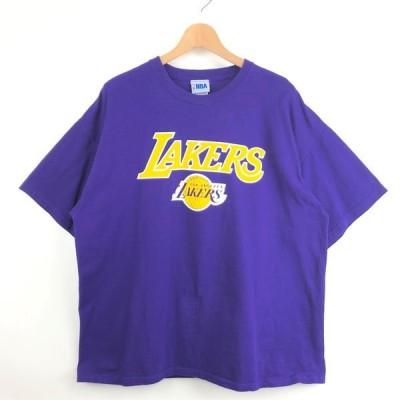 【古着】 NBA ロゴプリントTシャツ LOSANGELS LAKERS レイカーズ パープル系 メンズXL 【中古】 n029188