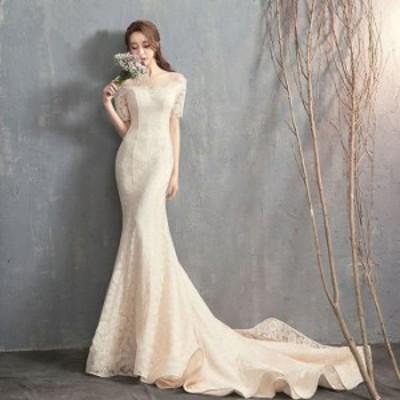 マーメイドドレス ウエディングドレス 総レースドレス 二次会 透けレース半袖 vネック 刺繍全体ドレス マーメイド イブニングドレス ウエ