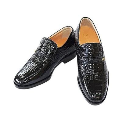 [北嶋製靴工業所] シークレットシューズ ビジネス 本革 国産 スリッポン 通気性 革靴 日本製 紳士靴 メンズ 幅広 クロコ型押し 5cmアップ 6