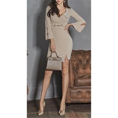 💕女性美up↑💕 韓国ファッション セクシー  Vネック スリム スプリット ショートスカート バッグヒップ トランペットスリーブ ワンピース