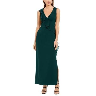 コネクテッド ワンピース トップス レディース Petite V-Neck Ruffled Gown Hunter Green