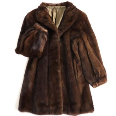 極美品▼SAGA MINK サガミンク 裏地花柄刺繍入り 本毛皮コート ブラウン 毛質艶やか・柔らか◎
