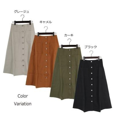 綿グログランフロント釦スカート