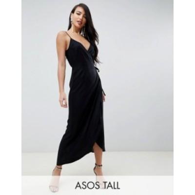 エイソス レディース ワンピース トップス ASOS DESIGN Tall cami wrap maxi dress Black