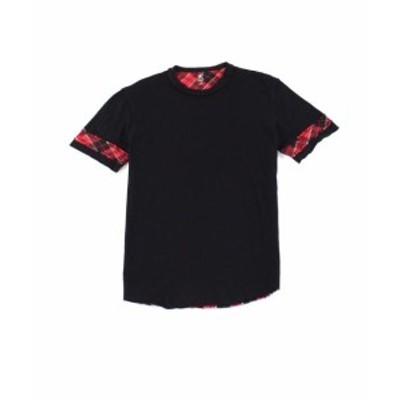 Plaid  ファッション トップス INC Mens Black Size Large L Basic Tweak Plaid Tee Cotton T-Shirt