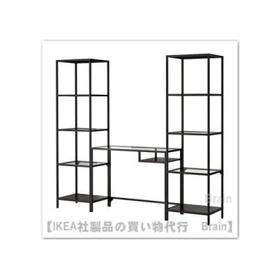 IKEA/イケア VITTSJO シェルフユニット ラップトップテーブル付きWサイド ガラス/ブラック