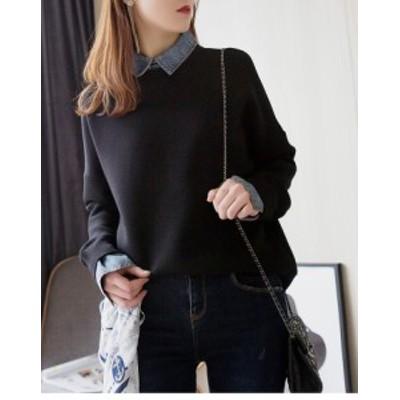 デニムシャツとニットのレイヤードトップス☆オフィスカジュアル オトナ女子 ブルーデニム XLあり