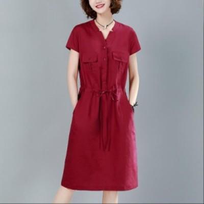 4色入 ショート丈ワンピース ママ 成人式 Aライン レディース 大きいサイズ シンプル 旅行 女性 半袖 ファッション ゆったり 着痩せ 通勤