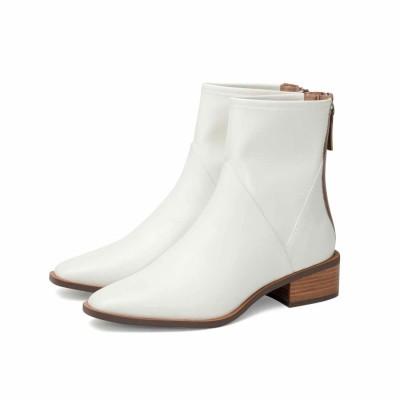 リサ ビッキー LISA★VICKY 【牛革】スクエア ショートブーツ ホワイト(ヒール高さ3.5cm) (ホワイト)