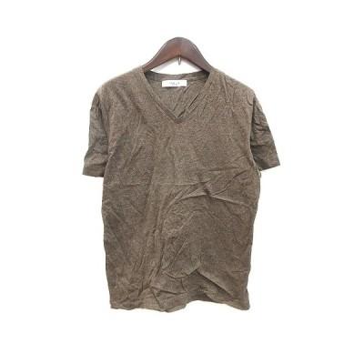 【中古】エディフィス EDIFICE Tシャツ カットソー 半袖 Vネック S 茶 ブラウン /CT メンズ 【ベクトル 古着】