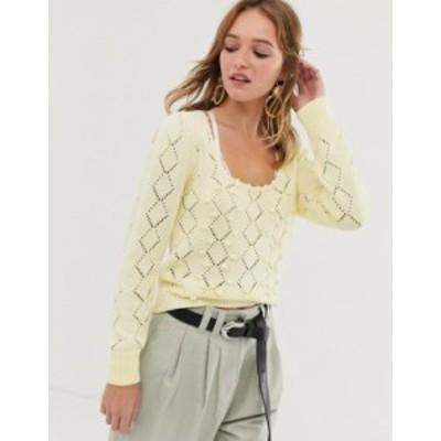 エイソス レディース ニット・セーター アウター ASOS DESIGN square neck bobble sweater Lemon