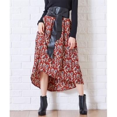 Green Parks(グリーンパークス)SET2点 ベルト+楊柳花柄スカート (ロング丈・マキシ丈スカート)Skirts