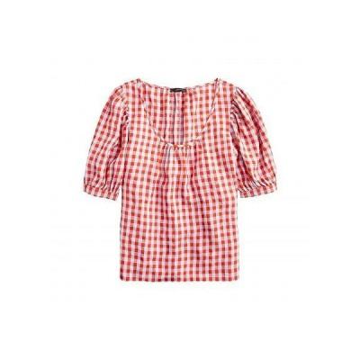 J.Crew レディース 女性用 ファッション ブラウス Greta Top in Washed Gingham - Red/Blue