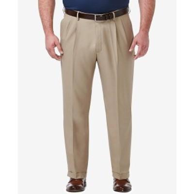 ハガール メンズ カジュアルパンツ ボトムス Men's Big & Tall Premium Comfort Stretch Classic-Fit Solid Pleated Dress Pants Med Kha