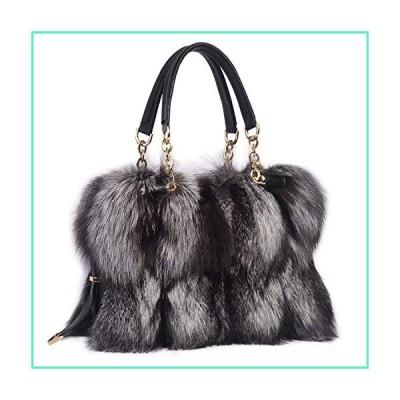 ZIYIUI Women's Ladies handbag 100% Real Fox Fur Leather Messenger Bags Fashion Womens Winter warm diagonal package (Gray)並行輸入品
