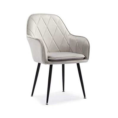 zyifan Fabric Dining Chairs with Arm, Detachable Seat Cushion Dressing Makeup Chair, Ergonomic Kitchen Side Chairs with Steel Leg, for Livin