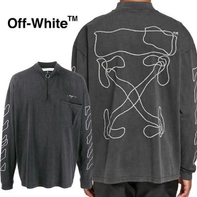 OFF-WHITE Tシャツ オフホワイト ロングTシャツ メンズ 長袖 モックネックABSTRACT ARROWS ZIP MOCK NECK  1001/BLACK   OMAB031F191850111001