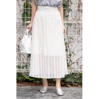 ROSE BUD/ローズ バッド サイドボタンレーススカート ホワイト -