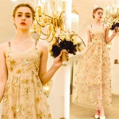 【ANGEL】キャミソール肌透けチュール星柄スパンコールAラインロングドレス【送料無料】高品質 ゴールド 金色 ロングドレス パーティードレス