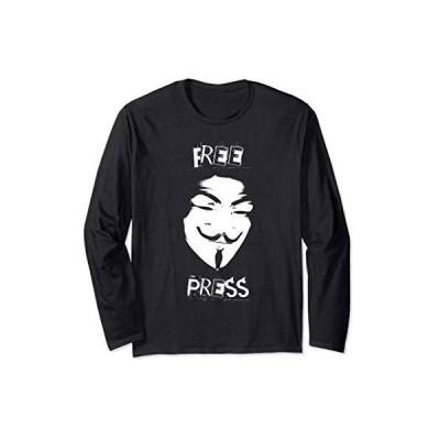 Free Press Anonymous Mask Freedom of Speech 長袖Tシャツ