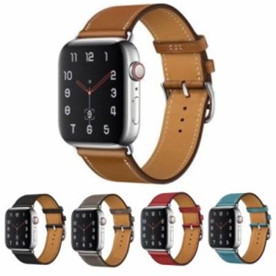 Apple Watch用本革ベルト 44mm/42mm用薄型レザーと細身のシルバーバックルがシックでおしゃれ。5色