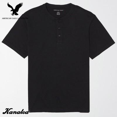 アメリカンイーグル Tシャツ 半袖 メンズ ヘンリーネック 無地 ブラック 大きいサイズ