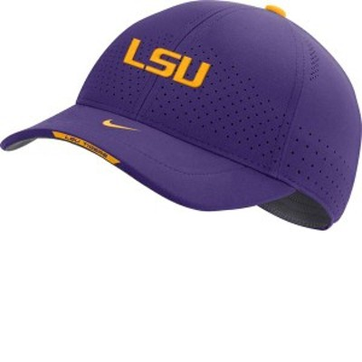 ナイキ メンズ 帽子 アクセサリー Nike Men's LSU Tigers Purple AeroBill Swoosh Flex Classic99 Football Sideline Hat