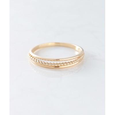 指輪 K10 つや×ヨリ 3ライン立体 ボリュームリング