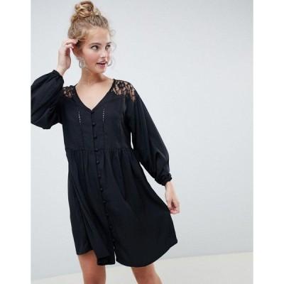 エイソス レディース ワンピース トップス ASOS DESIGN v neck button through mini smock dress with long sleeves and lace inserts Black