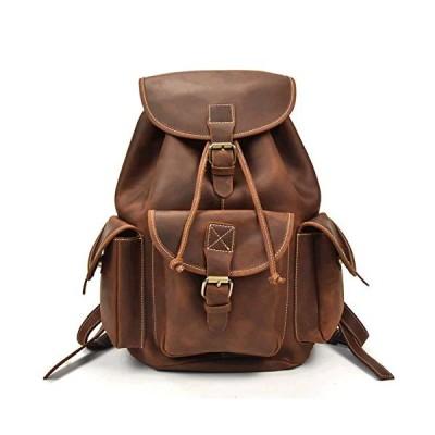 Luufan Men's Full Grain Italian Leather Backpack, 14inch Laptop Bag Daypack Large Capacity for School Outdoors Travel Unisex 並行輸入品