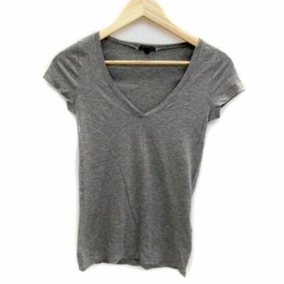 【中古】セオリー theory Tシャツ カットソー 半袖 Vネック 無地 薄手 2 グレー /SY17 レディース