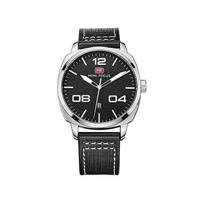 Minifocusメンズカジュアルウォッチ本革バンド合金ケース防水カレンダークオーツ腕時計