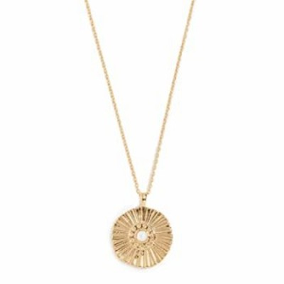 gorjana Women's Sunburst Coin Pendant Adjustable Medallion Necklace, 18 Gold Plated
