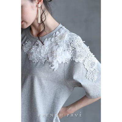 予約販売6月15日〜6月30日前後の出荷予定 FRENCH PAVE 可憐な白花レーストップス 杢グレー Tシャツ ML 2L3L CAWAII