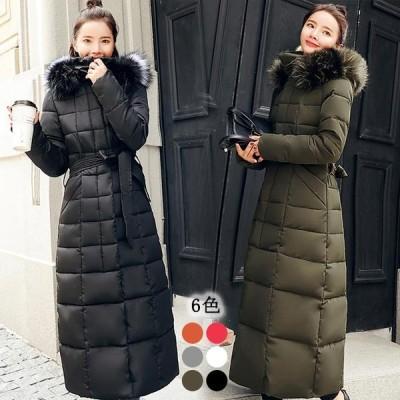 韓国ファッション 超ロングダウン コート ジャケット 上品 体型カバー 細身 着痩せ 厚手 シンプル 無地 冬服 新作 保温 防寒 激安