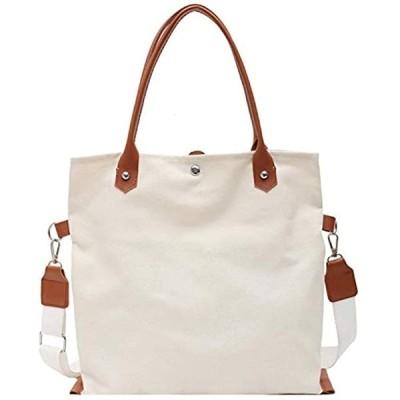 009 2WAYバッグ ショルダーバッグ ハンドバッグ トートバッグ キャンバスバッグ シンプル(白)