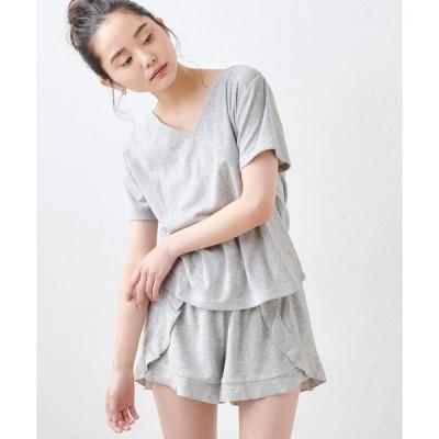 tシャツ Tシャツ コットンパイルカシュクール ルームウェアセット