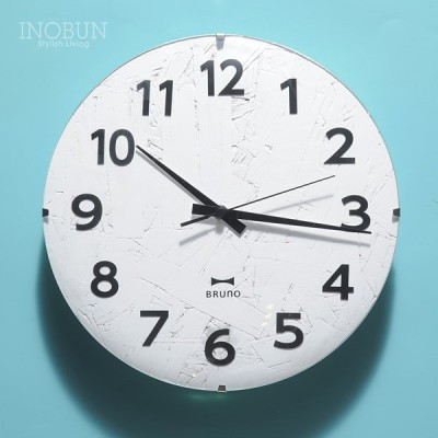 BRUNO 電波モノクロウッドクロック 壁掛け時計 電波時計 ホワイト BCR013-WH