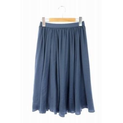 【中古】ロペ ROPE 17AW クレールサテンギャザースカート 膝丈 34 紺 ネイビー /ES ■OS レディース
