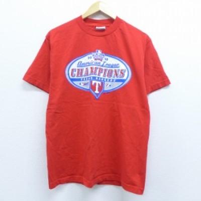 古着 半袖 Tシャツ マジェスティック MLB テキサスレンジャーズ ワールドシリーズ コットン クルーネック 赤 レッド メジャーリーグ ベー