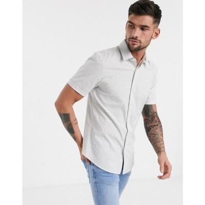 トップマン Topman メンズ シャツ トップス formal shirt with ditsy floral print in grey グレー