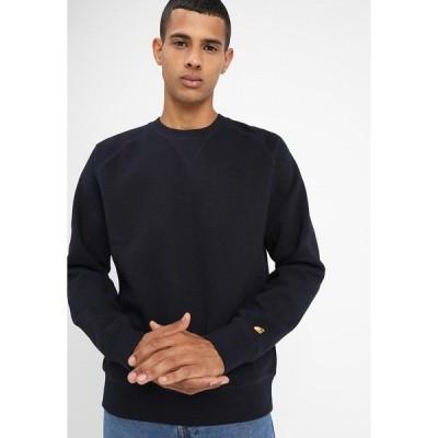 カーハート パーカー・スウェットシャツ メンズ アウター CHASE  - Sweatshirt - dark navy/gold