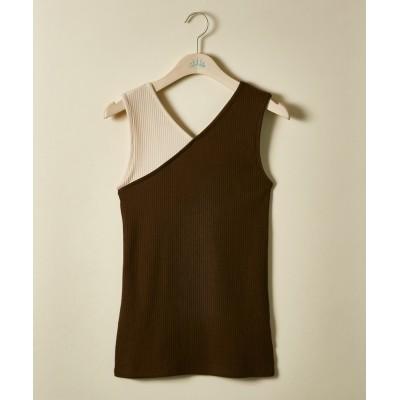 【大きいサイズ】 カラー切替リブタンクトップ【JINTY】 plus size camisole
