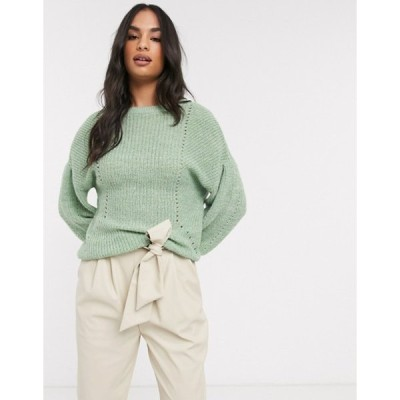 ヴィラ レディース ニット・セーター アウター Vila knitted sweater with balloon sleeve in green