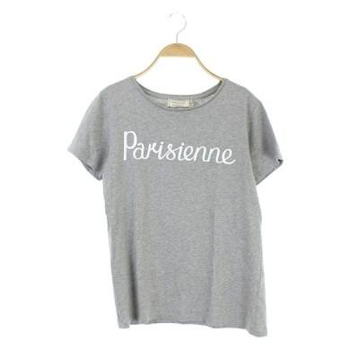 【中古】メゾンキツネ MAISON KITSUNE Parisienne Tシャツ カットソー 半袖 ロゴ S グレー /AO ■OS ■SH レディース 【ベクトル 古着】