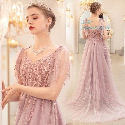 ピンク イブニングドレス Vネック ロングドレス 二次会 演奏会ドレス 発表会 キャミ Aライン お呼ばれ 背開き パーティードレス 成人式ドレス 編み上げ