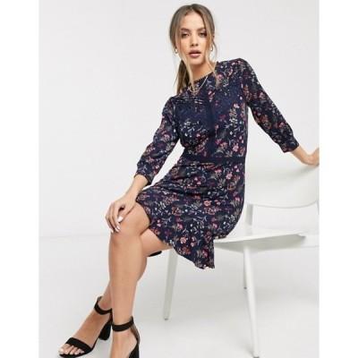 オアシス レディース ワンピース トップス Oasis floral print skater dress with lace trim in navy