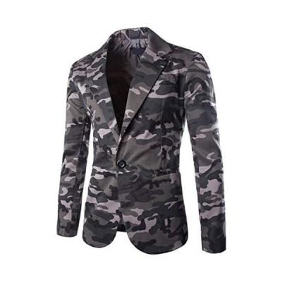 Buona stimolo (ボナスティモーロ) メンズ ジャケット テーラードジャケット 迷彩 柄 ミリタリー アウター 薄手(グレー M)