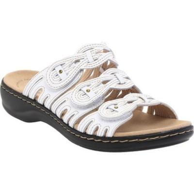 クラークス サンダル シューズ レディース Leisa Faye Slide (Women's) White Leather