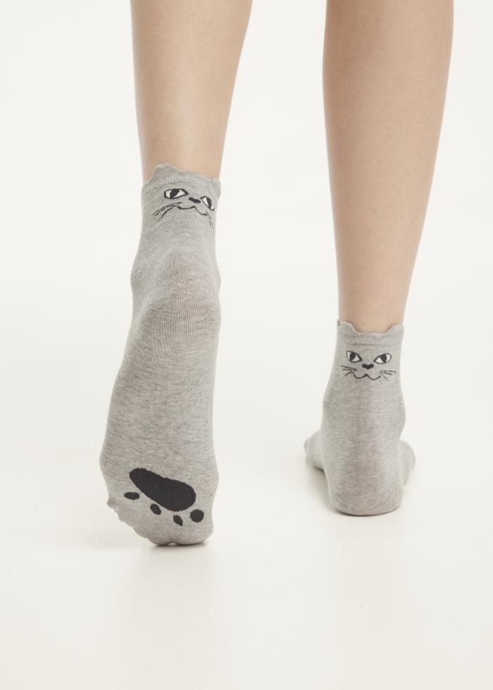 Meow.貓耳造型低筒襪(淺麻灰)